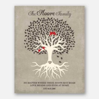 Personalized Family Tree Roots Birds Love Begins And Ends At Home Brown Cream Beige 1341