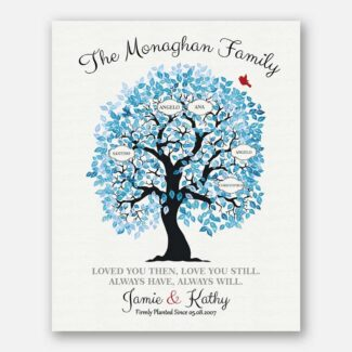Family Tree Personalized Blue And White Ten Year Anniversary Tin Anniversary Gift For Couple 1343