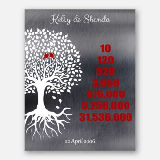 Personalized 10 Year Countdown Family Tree Roots Faux Shiny Silver And Red #1346