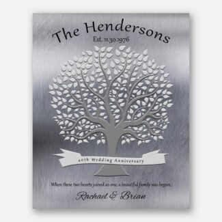 40th Anniversary Gift Personalized Family Tree Poem Gift For Parents Faux Shiny Tin 1347