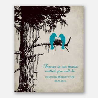 Death of A Child In Loving Memory Loss of Baby Stillborn Nestled in Our Hearts, Turquoise, Beige, Sympathy Gift #1357