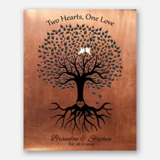 Minimalist Tree Gift For Gay Marriage Same Sex Couple Two Hearts One Love Masculine Design #1359