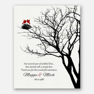 2nd Year Anniversary Personalized Family Wedding Tree Garnet Poetry Gift For Couple #1365