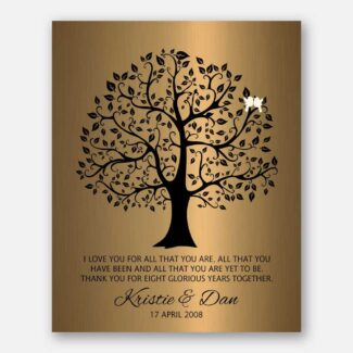 8 Year Anniversary Personalized Wedding Tree Gift Faux Bronze Onyx Gift For Couple #1378