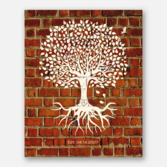 Eight Year Anniversary Personalized Minimalist Family Tree Roots Faux Brick Gift For Couple #1382