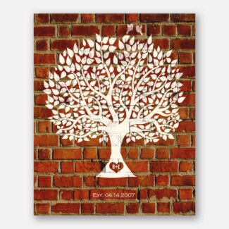 Traditional 8 Year Faux Brick Clay Pottery Anniversary Personalized Family Tree Gift For Couple #1383