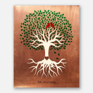 Minimalist Tree Roots Green Canopy Red Cardinal Birds 7 Year Anniversary Faux Copper 1398