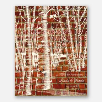 Birch Tree Forest on Faux Brick Background 8 Year Clay Pottery Traditional #1404