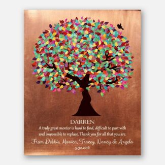 Mentor Gift Colorful Tree of Faux Copper Background Personalized Thank You Gift #1408