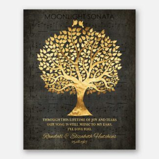 50th Wedding Anniversary Song Notes Music To My Ears Faux Gold Foil Family Tree Personalized Gift #1415