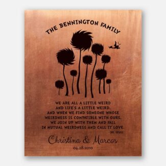 Traditional 7 Year Tin Anniversary Gift Dr. Seuss Personalized Truffula Trees We Are All A Little Weird Copper Print #1468