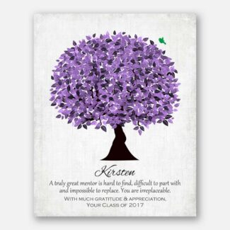 Personalized Gift For Boss Gift For Truly Great Mentor Gift For Teacher Purple Watercolor Tree #1477
