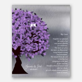 10 Year Anniversary Personalized Gift My Love Poem Together Our Tree We Planted Purple Tree #1484