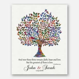 Any Anniversary | Gift For Couple | Watercolor Tree Corinthians 13:13 And Now These Three Remain #1493