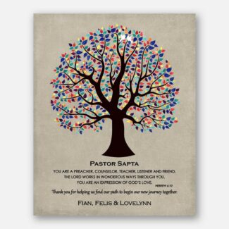 Personalized Pastor Gift Bible Verse 6:10 Watercolor Tree Hebrew Wedding Day Thank You Gift Easter Christening Communion #1494