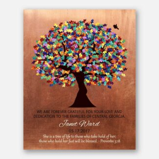 Personalized Autism Teacher Gift for Autism Teacher Administration Staff Watercolor Tree #1497