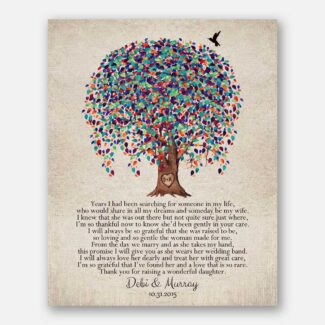 Gift For Mother of Bride, Gift From Groom, Weeping Willow Tree, Watercolor, Personalized Gift, Years I Have Been Searching #1518