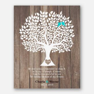 Mother of Groom Wedding Thank You Parents Gift From Bride Faux Wood Rustic Wedding Tree Tin #1728