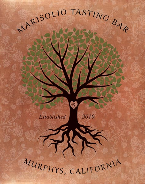 Tree Of Life Carved Initials In Tree Green Leaves Floral Background Gift – Personalized For Marisolio