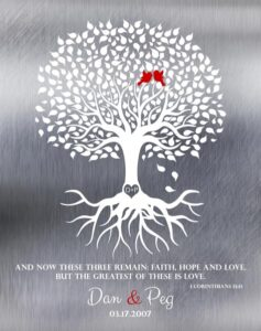 Spring Wedding Tree 1 Corinthians 13:13 Shiny Tin Background Lovebirds Ten Year Anniversary Gift – Personalized For Peg
