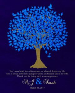 Bride's Mother Groom To Parents Blue Oak Family Tree Wedding Poem Thank You Gift – Personalized For Sarah