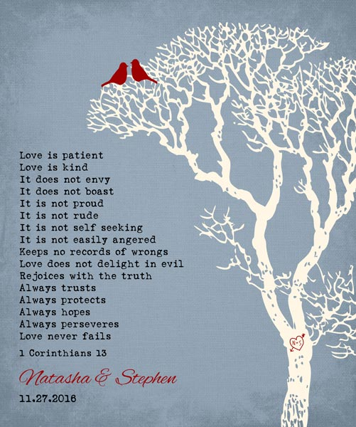 10 Year Wedding Anniversary Bare Winter Tree Love Birds 1 Corinthians – Personalized for Thomas