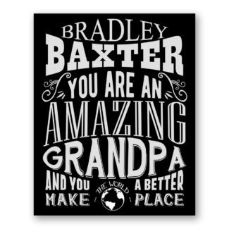Grandpa Amazing Custom Plaque Tin Sign Gift For Father From Daughter or Son Grandchildren Typography Personalized Metal Art Print #1188
