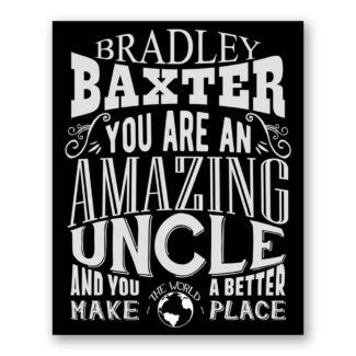 Uncle Amazing Custom Plaque Tin Sign Gift From Niece Nephew Sister Brother Family Typography Personalized Metal Art Print #1189