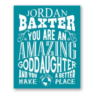 Goddaughter Amazing Custom Plaque Tin Sign Gift From Godparent To God Daughter From Godmother Typography Personalized Metal Art Print #1324