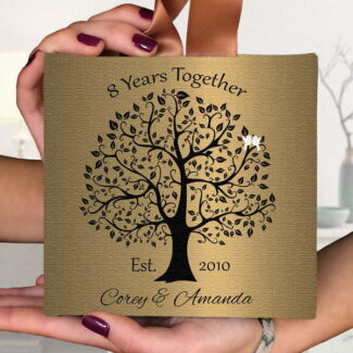 8th Anniversary Gift, 8 Year Anniversary, Hanging Canvas Ornament, Personalized Gift For Wife, Husband Gift, Couples Gift, Spouse Gift 5×5, #107