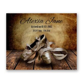 Ballet Pointe Shoes on Wood Table Vintage Background Personalized Art Print For Childrens Room Girls Room Nursery Dance #TCH-1003