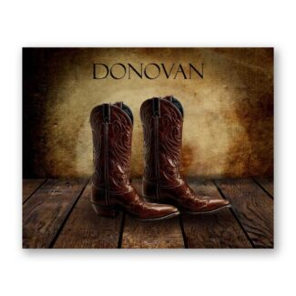 Cowboy Boots on Wood Table Vintage Background Personalized Cowboy Western Art Print For Childrens Room Boys Room Nursery #TCH-1010