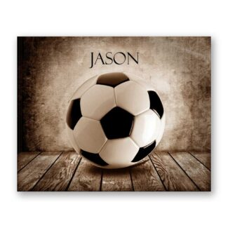Soccer Ball Sepia Faded on Wood Table Vintage Background Personalized Aviation Art Print #TCH-1020
