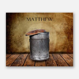 Garbage Can on Wood Table Vintage Background Personalized Art Print For Boys Room Man Cave #TCH-1021